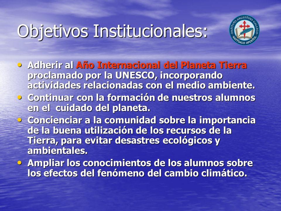 Objetivos Institucionales: Adherir al Año Internacional del Planeta Tierra proclamado por la UNESCO, incorporando actividades relacionadas con el medio ambiente.