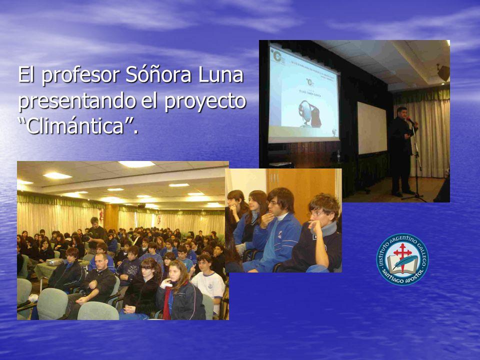 El profesor Sóñora Luna presentando el proyecto Climántica.