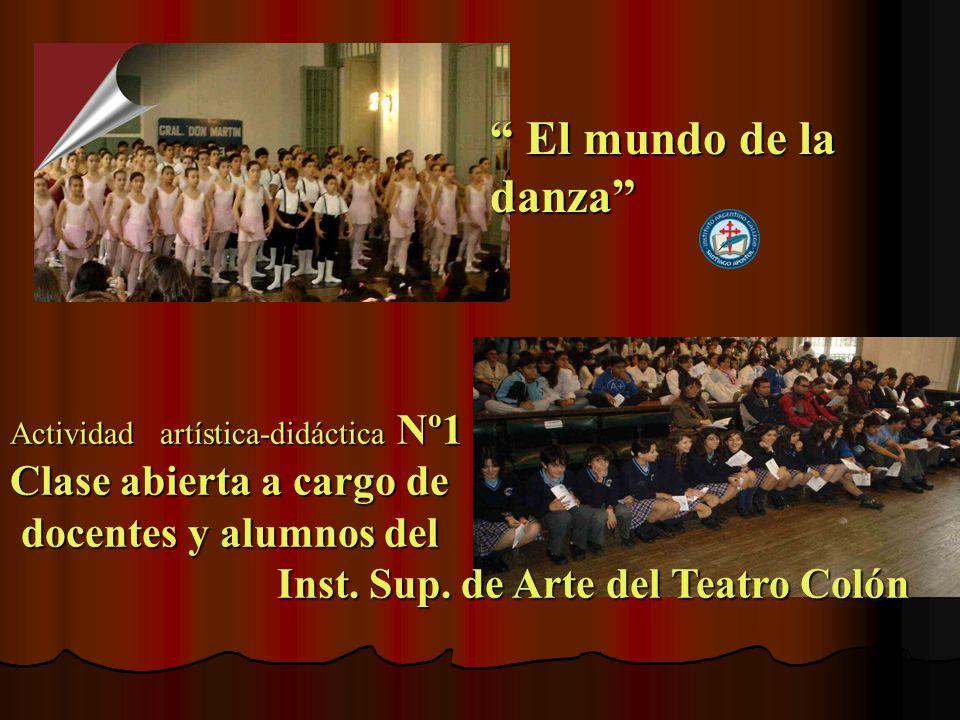 Actividad artística-didáctica Nº1 Clase abierta a cargo de docentes y alumnos del docentes y alumnos del Inst.
