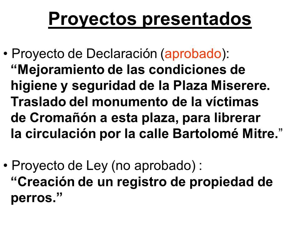 Proyectos presentados Proyecto de Declaración (aprobado): Mejoramiento de las condiciones de higiene y seguridad de la Plaza Miserere.