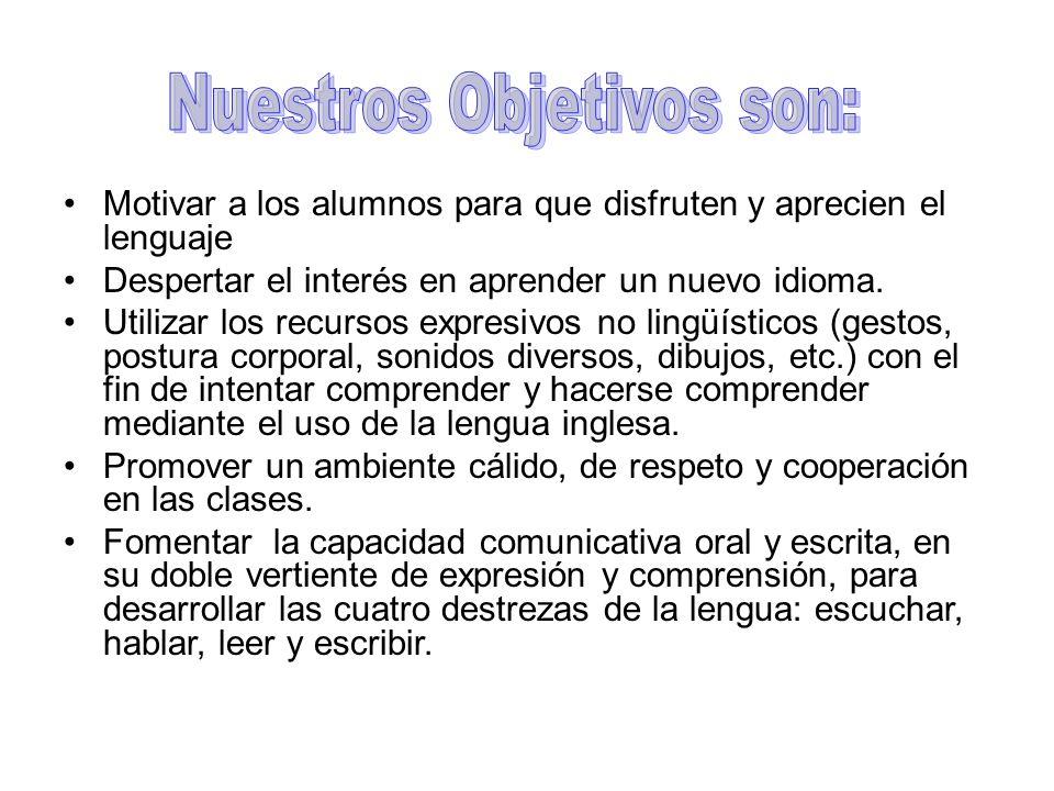 Motivar a los alumnos para que disfruten y aprecien el lenguaje Despertar el interés en aprender un nuevo idioma.