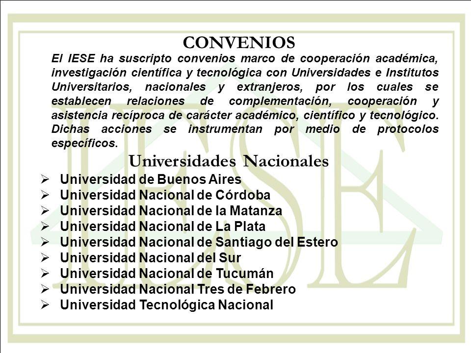 Universidades Nacionales Universidad de Buenos Aires Universidad Nacional de Córdoba Universidad Nacional de la Matanza Universidad Nacional de La Pla