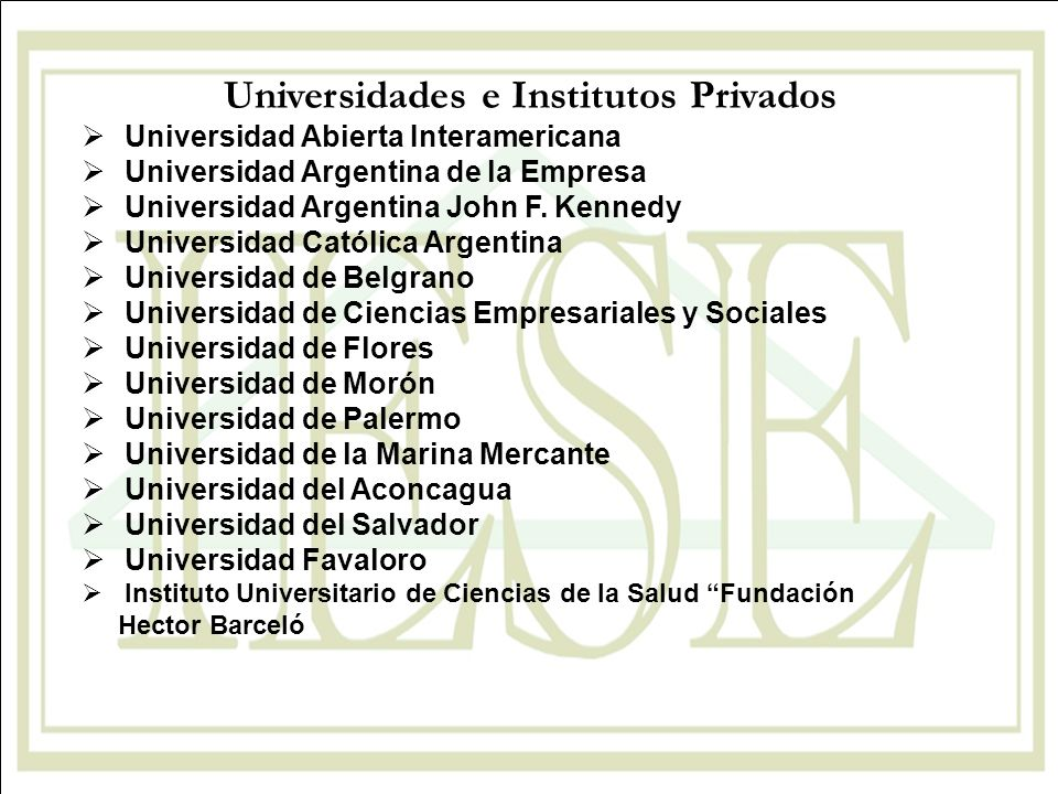 Universidades e Institutos Privados Universidad Abierta Interamericana Universidad Argentina de la Empresa Universidad Argentina John F. Kennedy Unive