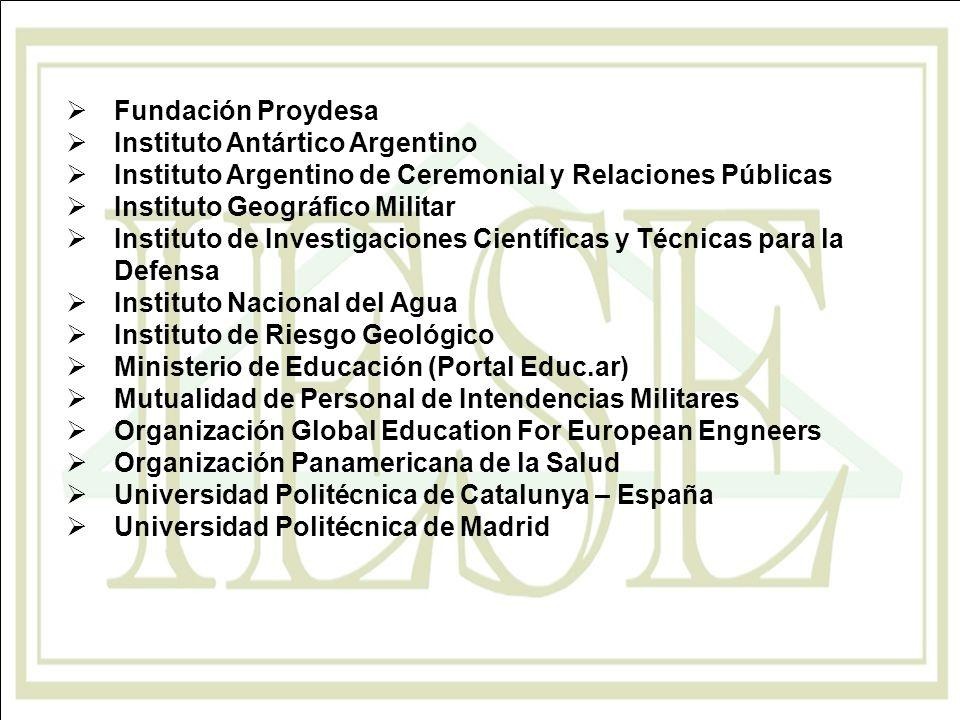 Fundación Proydesa Instituto Antártico Argentino Instituto Argentino de Ceremonial y Relaciones Públicas Instituto Geográfico Militar Instituto de Inv