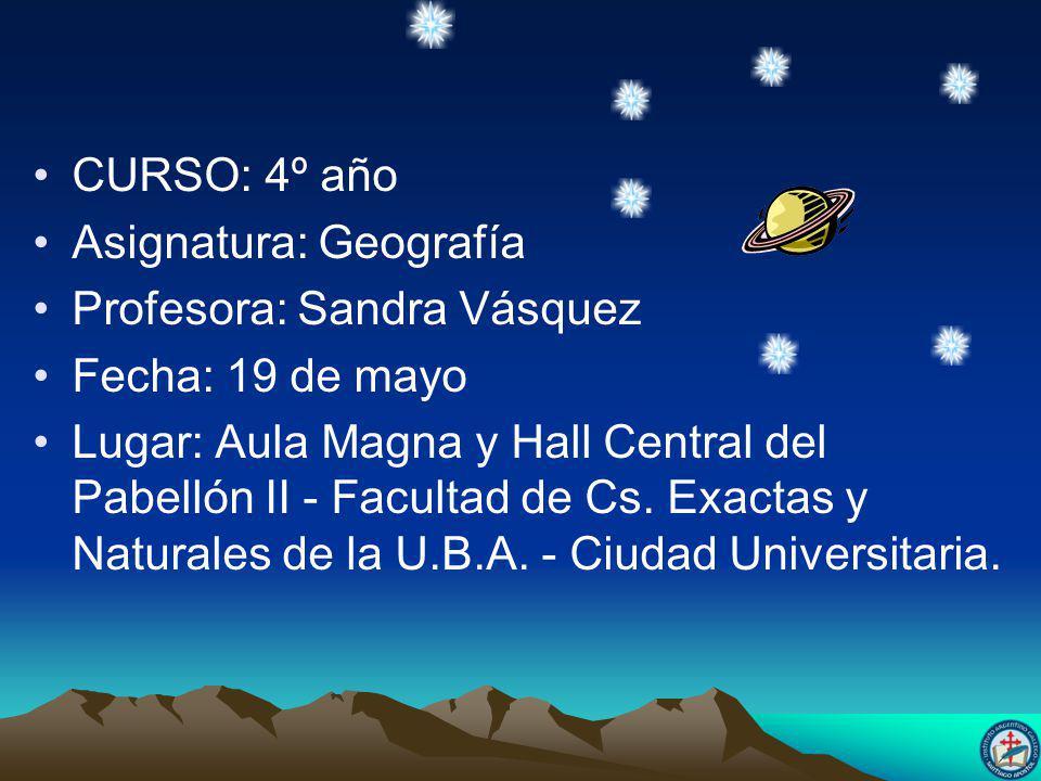 CURSO: 4º año Asignatura: Geografía Profesora: Sandra Vásquez Fecha: 19 de mayo Lugar: Aula Magna y Hall Central del Pabellón II - Facultad de Cs.