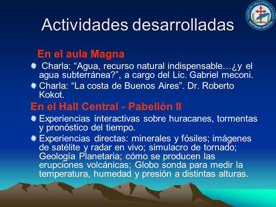 Actividades desarrolladas En el aula Magna Charla: Agua, recurso natural indispensable…¿y el agua subterránea?, a cargo del Lic.