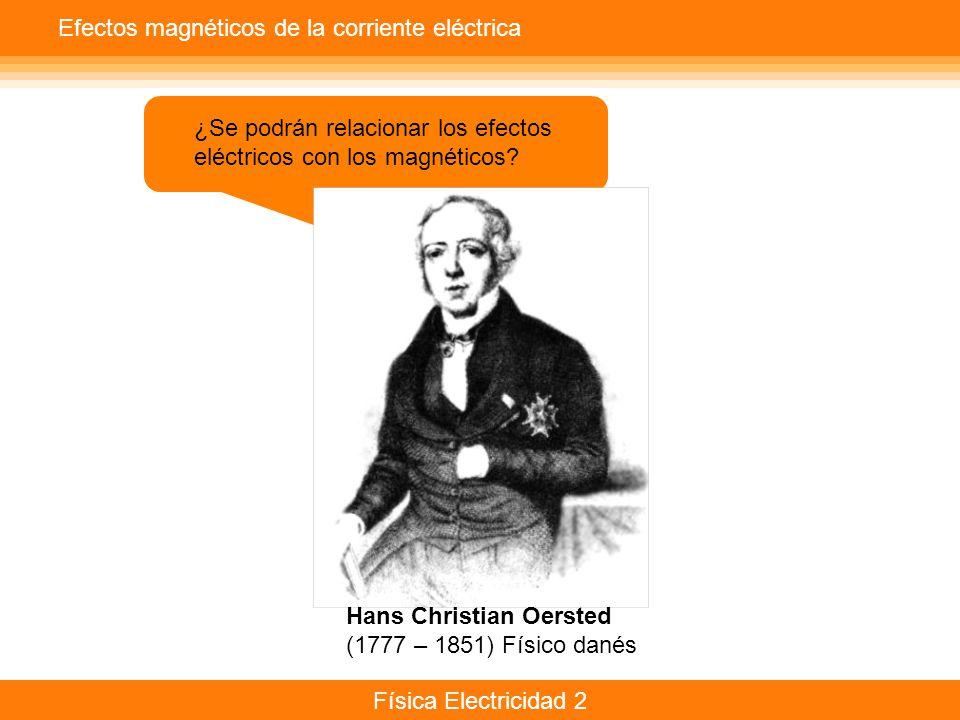 Física Electricidad 2 Efectos magnéticos de la corriente eléctrica ¿Se podrán relacionar los efectos eléctricos con los magnéticos? Hans Christian Oer