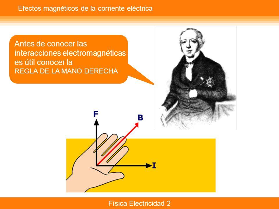 Física Electricidad 2 Efectos magnéticos de la corriente eléctrica Antes de conocer las interacciones electromagnéticas es útil conocer la REGLA DE LA MANO DERECHA