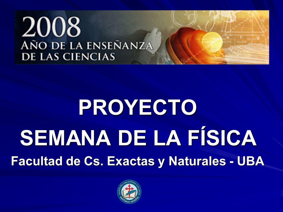 PROYECTO SEMANA DE LA FÍSICA Facultad de Cs. Exactas y Naturales - UBA