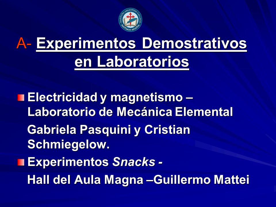 A- Experimentos Demostrativos en Laboratorios Electricidad y magnetismo – Laboratorio de Mecánica Elemental Gabriela Pasquini y Cristian Schmiegelow.
