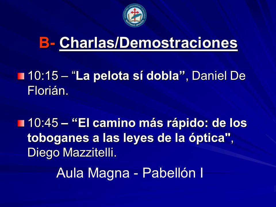B- Charlas/Demostraciones 10:15 – La pelota sí dobla, Daniel De Florián.
