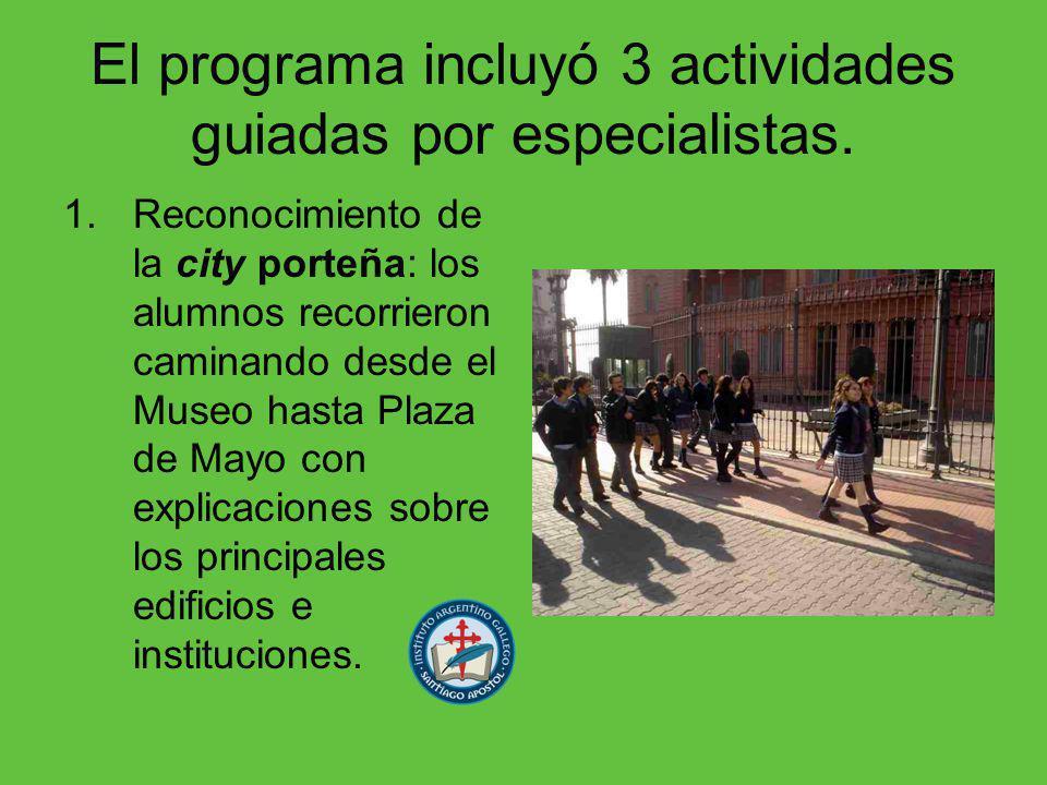 El programa incluyó 3 actividades guiadas por especialistas.