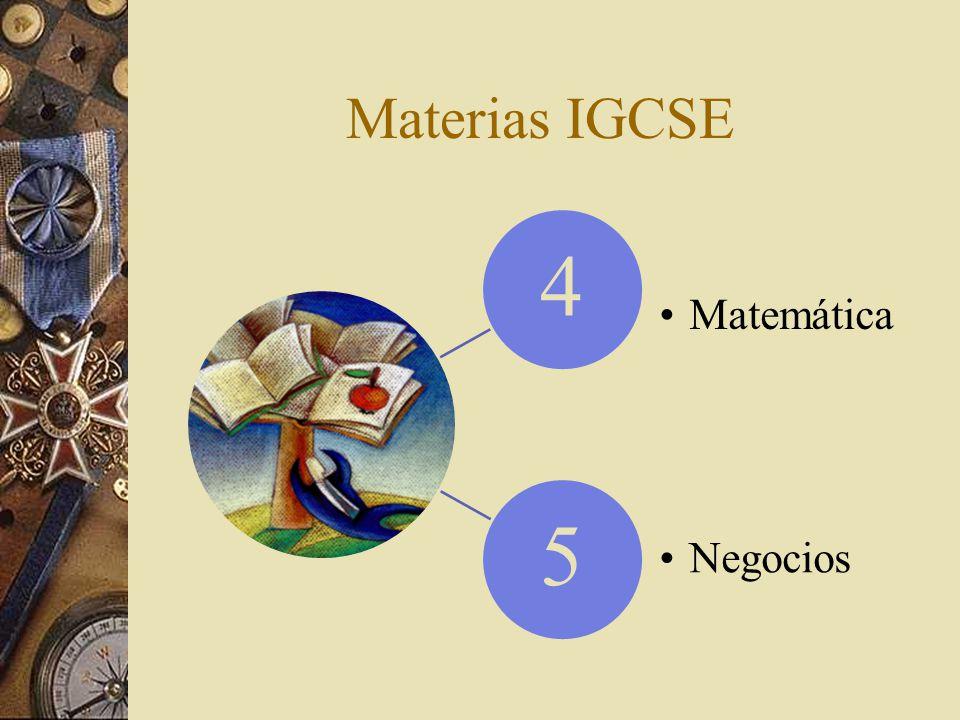 Materias IGCSE 4 Matemática 5 Negocios