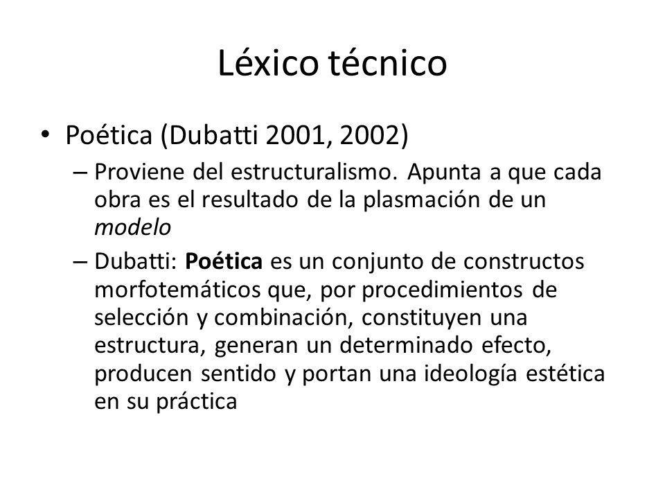Léxico técnico Poética (Dubatti 2001, 2002) – Proviene del estructuralismo. Apunta a que cada obra es el resultado de la plasmación de un modelo – Dub