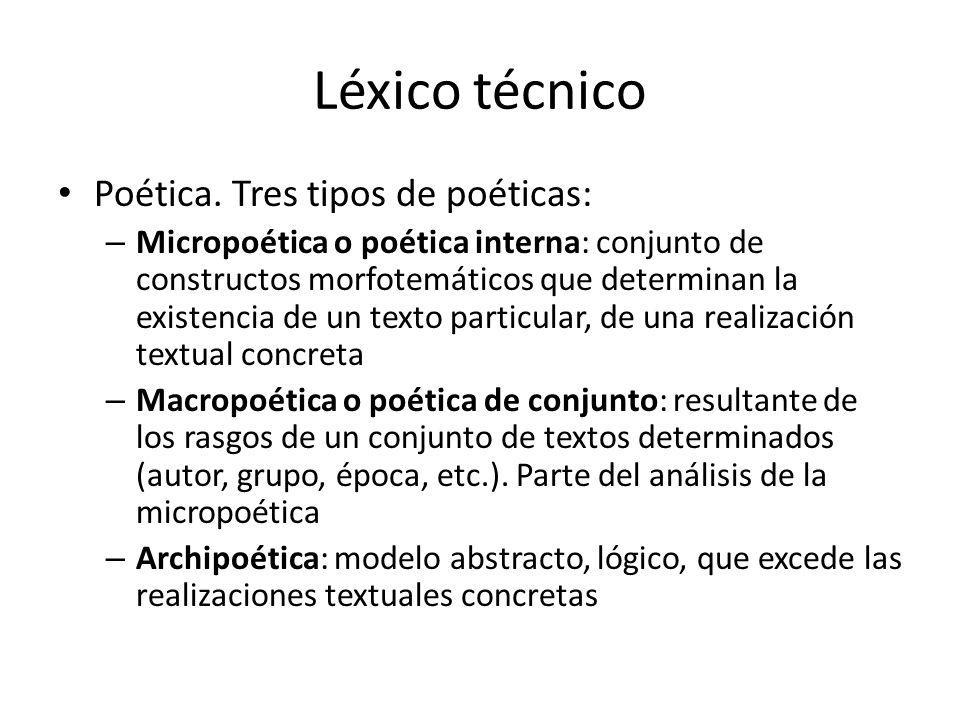 Léxico técnico Poética. Tres tipos de poéticas: – Micropoética o poética interna: conjunto de constructos morfotemáticos que determinan la existencia