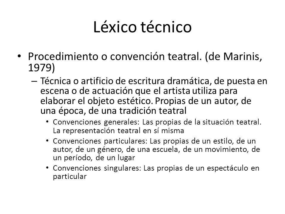 Léxico técnico Procedimiento o convención teatral. (de Marinis, 1979) – Técnica o artificio de escritura dramática, de puesta en escena o de actuación