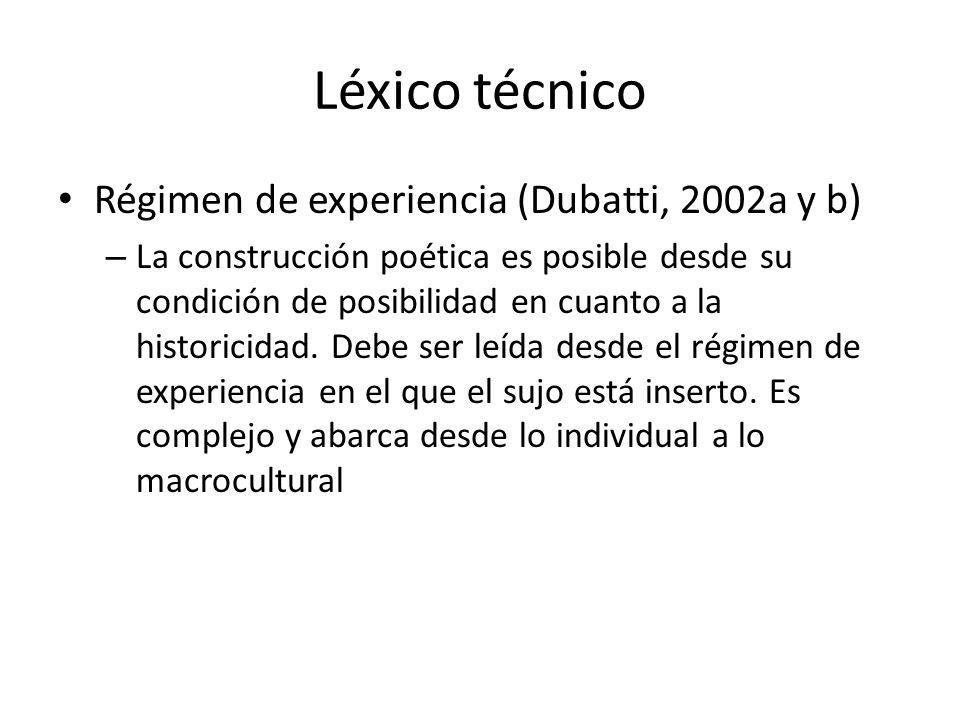 Léxico técnico Régimen de experiencia (Dubatti, 2002a y b) – La construcción poética es posible desde su condición de posibilidad en cuanto a la histo
