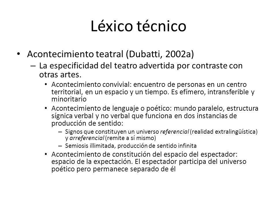 Léxico técnico Acontecimiento teatral (Dubatti, 2002a) – La especificidad del teatro advertida por contraste con otras artes. Acontecimiento convivial