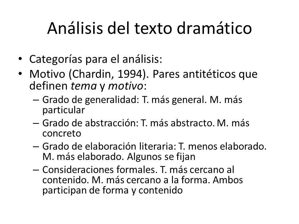 Análisis del texto dramático Categorías para el análisis: Motivo (Chardin, 1994). Pares antitéticos que definen tema y motivo: – Grado de generalidad: