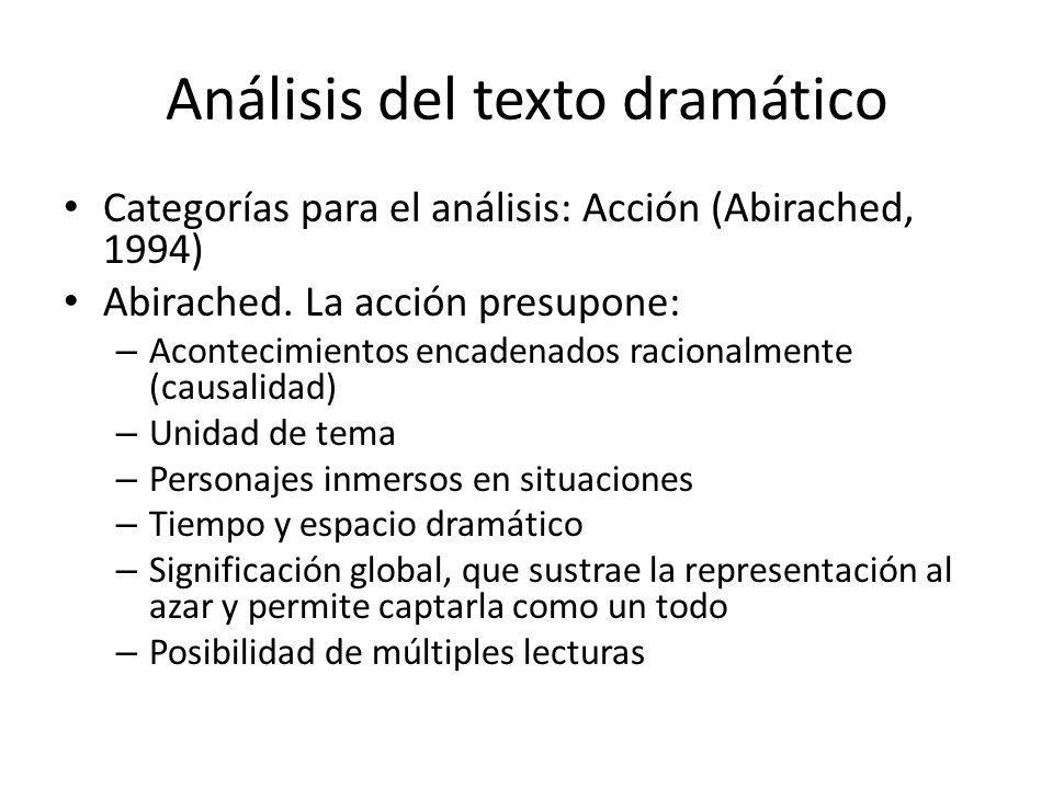 Análisis del texto dramático Categorías para el análisis: Acción (Abirached, 1994) Abirached. La acción presupone: – Acontecimientos encadenados racio