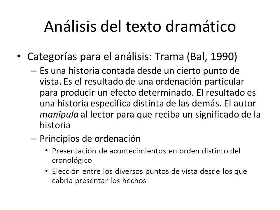 Análisis del texto dramático Categorías para el análisis: Trama (Bal, 1990) – Es una historia contada desde un cierto punto de vista. Es el resultado