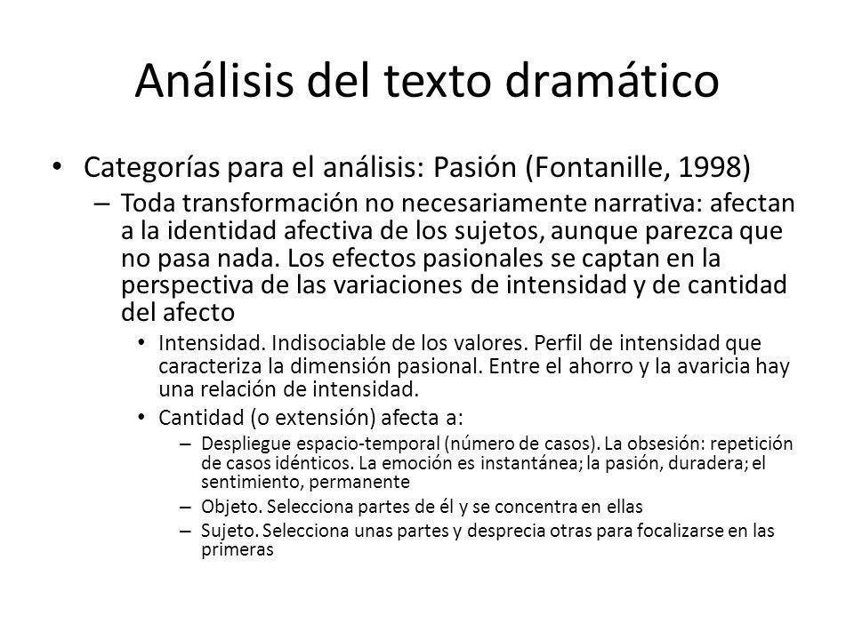 Análisis del texto dramático Categorías para el análisis: Pasión (Fontanille, 1998) – Toda transformación no necesariamente narrativa: afectan a la id