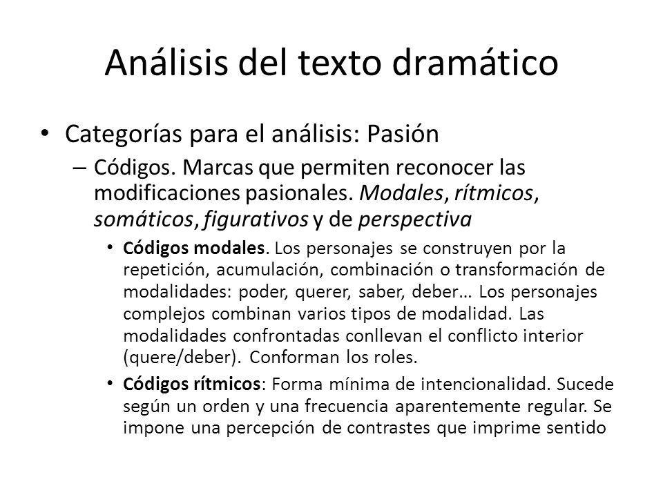 Análisis del texto dramático Categorías para el análisis: Pasión – Códigos. Marcas que permiten reconocer las modificaciones pasionales. Modales, rítm
