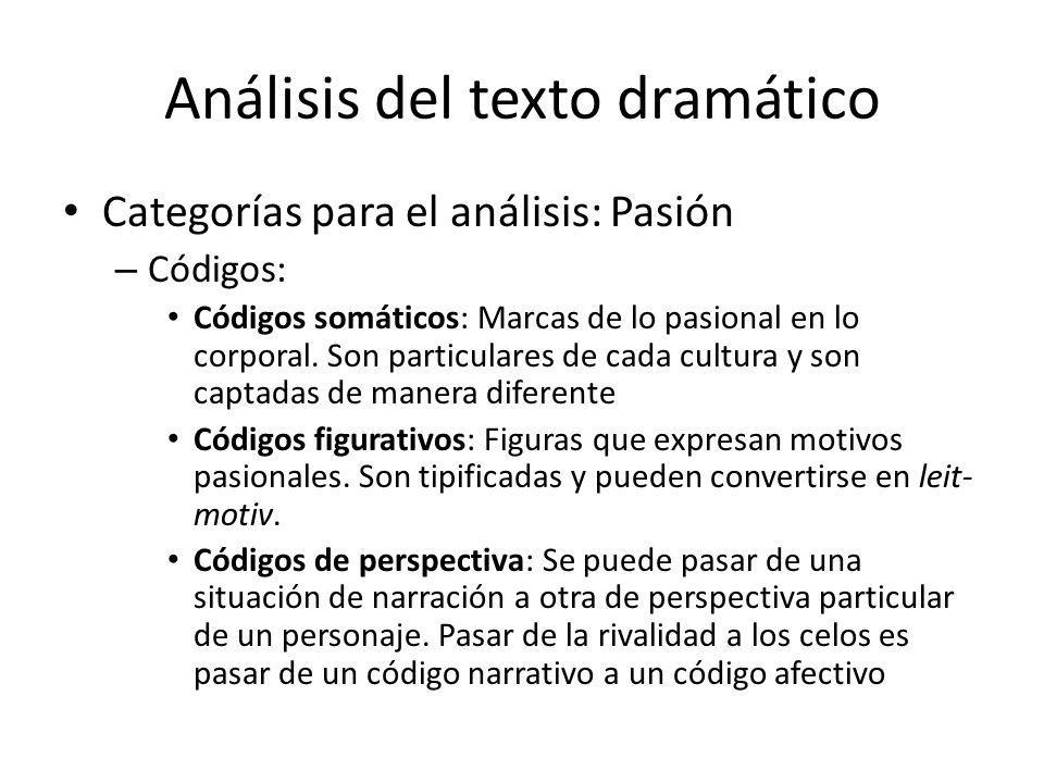 Análisis del texto dramático Categorías para el análisis: Pasión – Códigos: Códigos somáticos: Marcas de lo pasional en lo corporal. Son particulares
