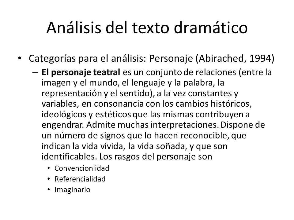 Análisis del texto dramático Categorías para el análisis: Personaje (Abirached, 1994) – El personaje teatral es un conjunto de relaciones (entre la im