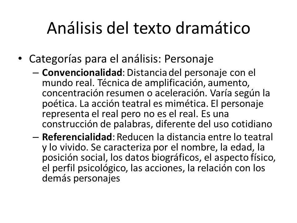 Análisis del texto dramático Categorías para el análisis: Personaje – Convencionalidad: Distancia del personaje con el mundo real. Técnica de amplific