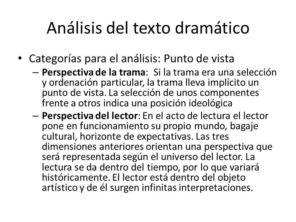 Análisis del texto dramático Categorías para el análisis: Punto de vista – Perspectiva de la trama: Si la trama era una selección y ordenación particu