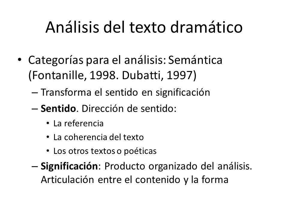 Análisis del texto dramático Categorías para el análisis: Semántica (Fontanille, 1998. Dubatti, 1997) – Transforma el sentido en significación – Senti
