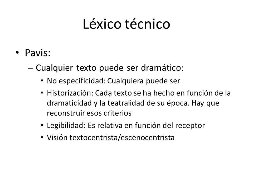 Léxico técnico Pavis: – Cualquier texto puede ser dramático: No especificidad: Cualquiera puede ser Historización: Cada texto se ha hecho en función d