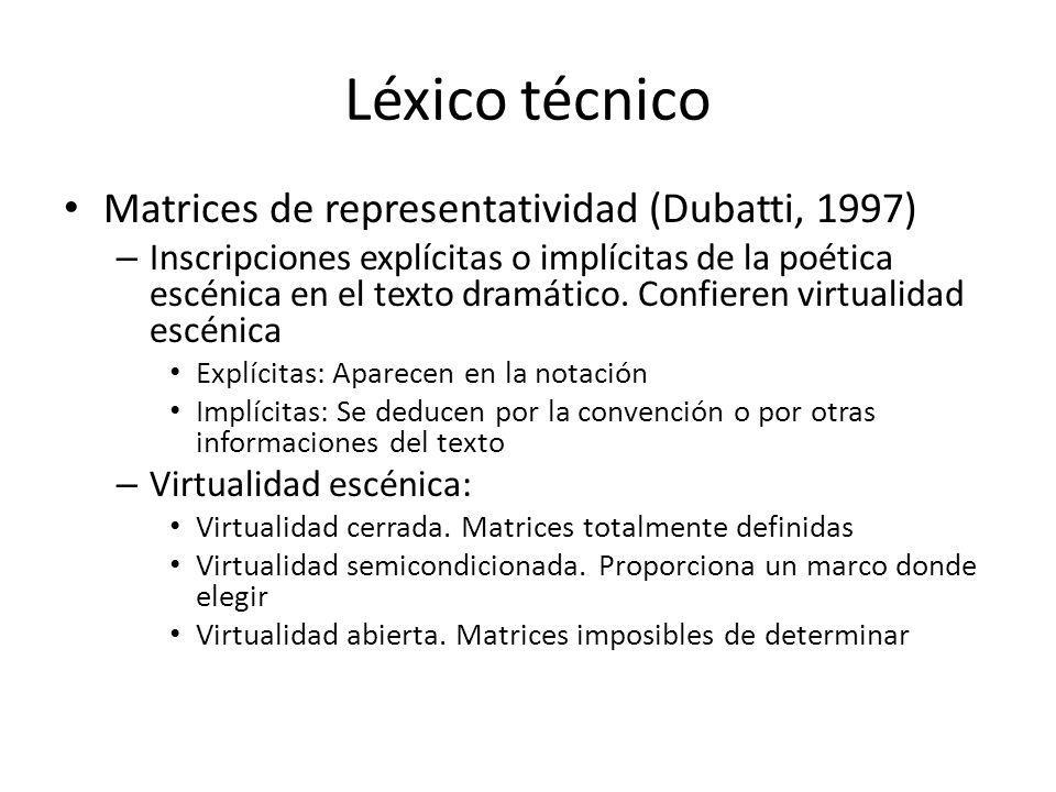 Léxico técnico Matrices de representatividad (Dubatti, 1997) – Inscripciones explícitas o implícitas de la poética escénica en el texto dramático. Con
