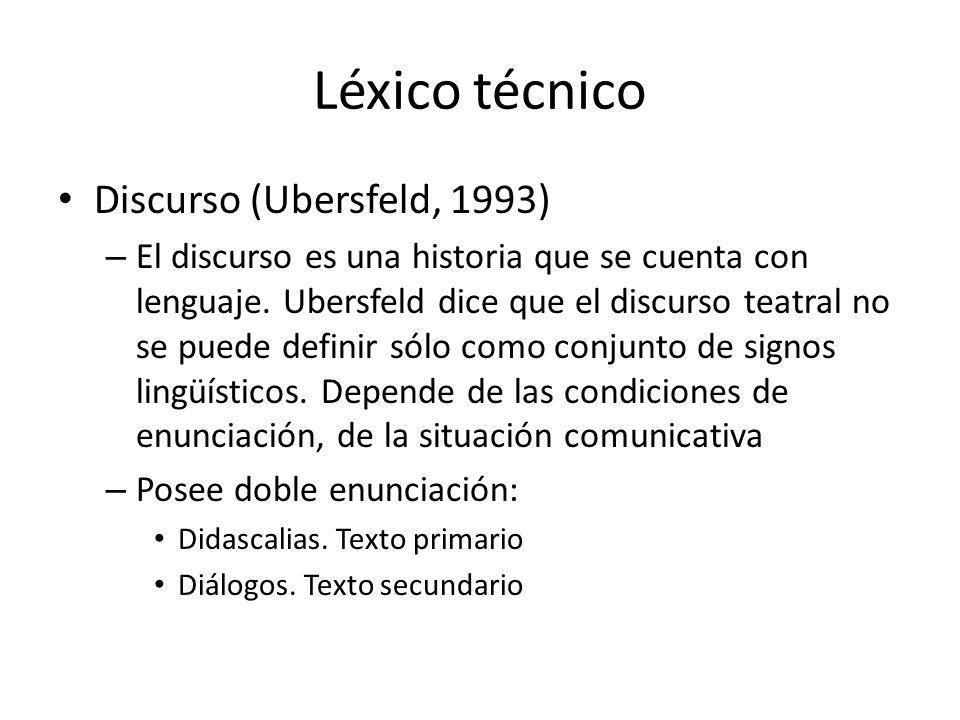 Léxico técnico Discurso (Ubersfeld, 1993) – El discurso es una historia que se cuenta con lenguaje. Ubersfeld dice que el discurso teatral no se puede
