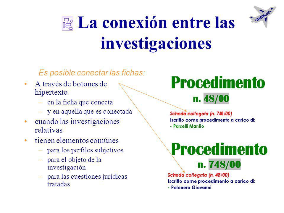 La extensión de la investigación contactos cosas indagados personas delitos Es posible agregar a la ficha: