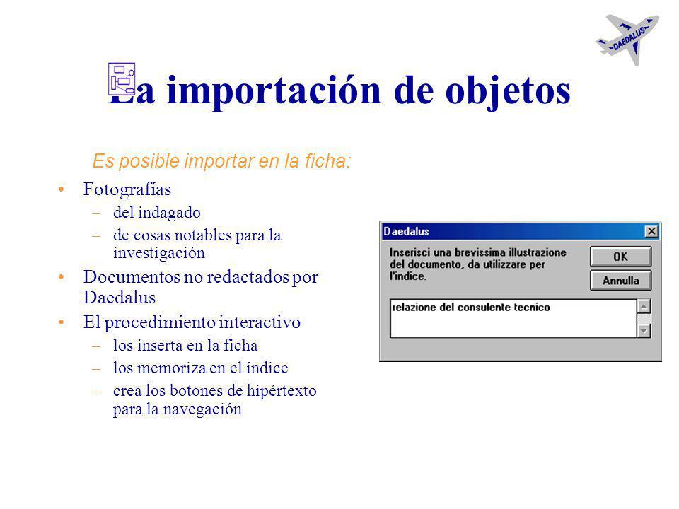 La conexión entre las investigaciones A través de botones de hipertexto –en la ficha que conecta –y en aquella que es conectada cuando las investigaci