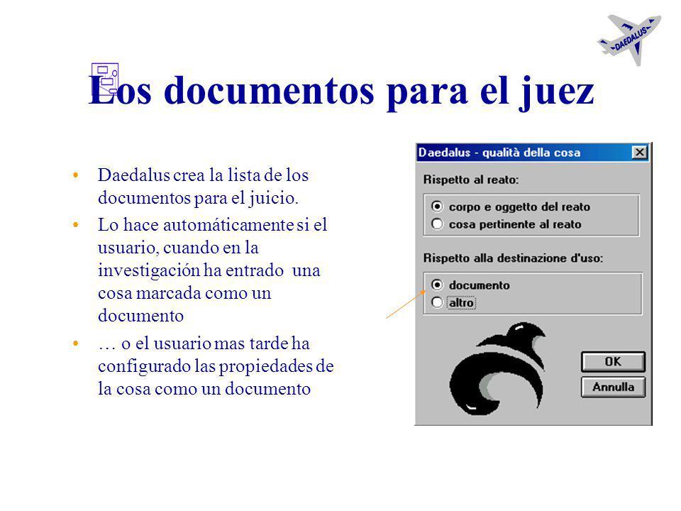 La importación de objetos Fotografías –del indagado –de cosas notables para la investigación Documentos no redactados por Daedalus El procedimiento in
