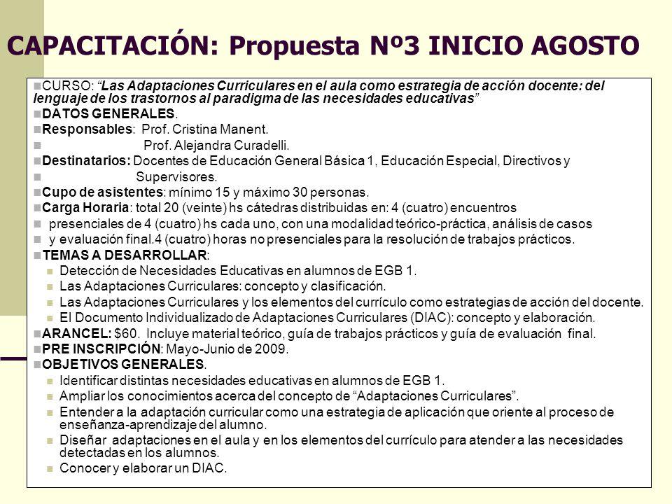 Directora Prof.Cristina Gutiérrez Co directora Prof.Gabriela Herrera 14 CAPACITACIÓN: Propuesta Nº3 INICIO AGOSTO CURSO: Las Adaptaciones Curriculares