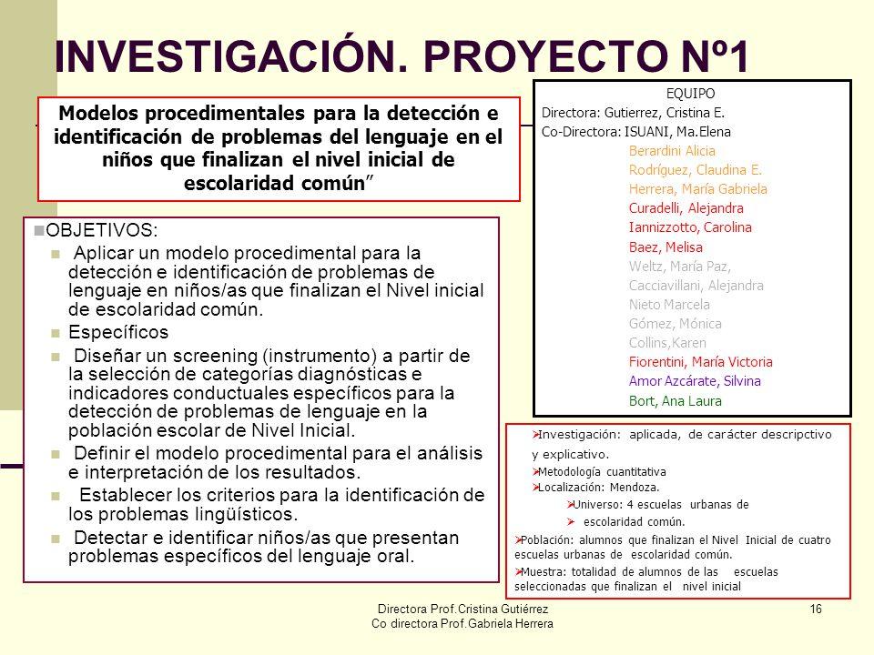 Directora Prof.Cristina Gutiérrez Co directora Prof.Gabriela Herrera 16 INVESTIGACIÓN. PROYECTO Nº1 Modelos procedimentales para la detección e identi