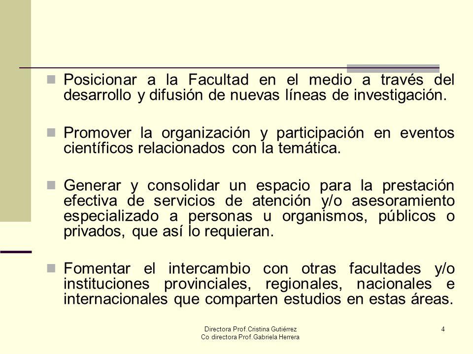 Directora Prof.Cristina Gutiérrez Co directora Prof.Gabriela Herrera 4 Posicionar a la Facultad en el medio a través del desarrollo y difusión de nuev