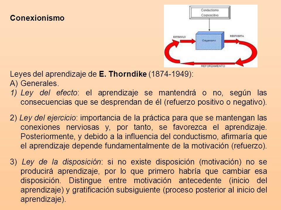 Conexionismo Leyes del aprendizaje de E.Thorndike (1874-1949): A)Generales.