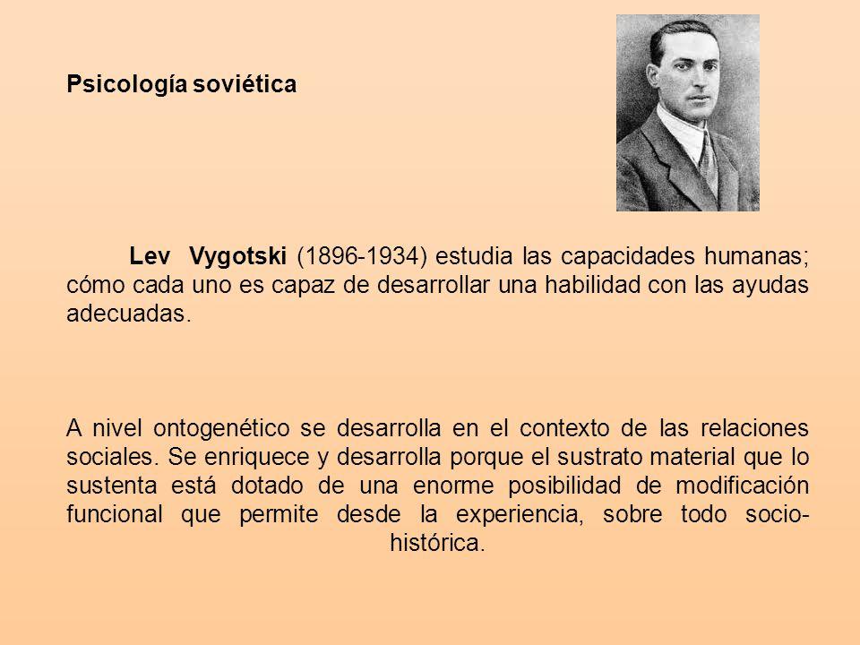 Psicología soviética Lev Vygotski (1896-1934) estudia las capacidades humanas; cómo cada uno es capaz de desarrollar una habilidad con las ayudas adecuadas.