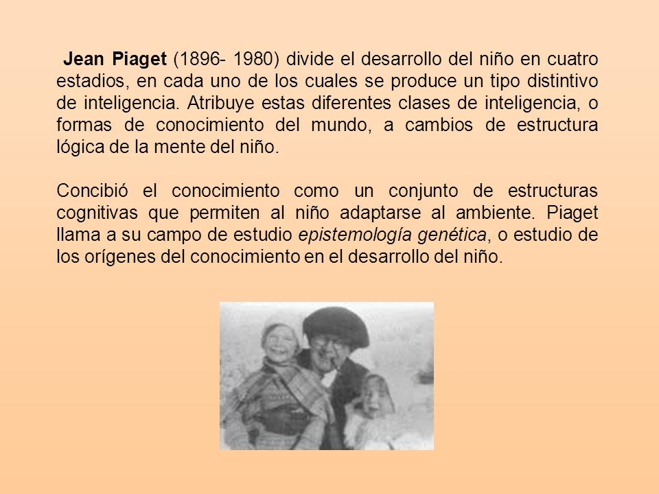 Jean Piaget (1896- 1980) divide el desarrollo del niño en cuatro estadios, en cada uno de los cuales se produce un tipo distintivo de inteligencia.