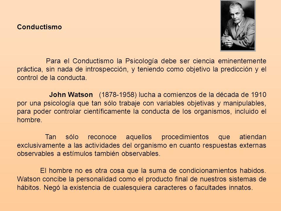 Conductismo Para el Conductismo la Psicología debe ser ciencia eminentemente práctica, sin nada de introspección, y teniendo como objetivo la predicción y el control de la conducta.