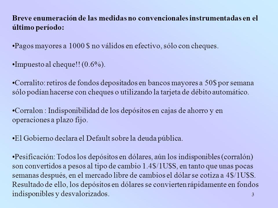 3 Breve enumeración de las medidas no convencionales instrumentadas en el último período: Pagos mayores a 1000 $ no válidos en efectivo, sólo con cheques.