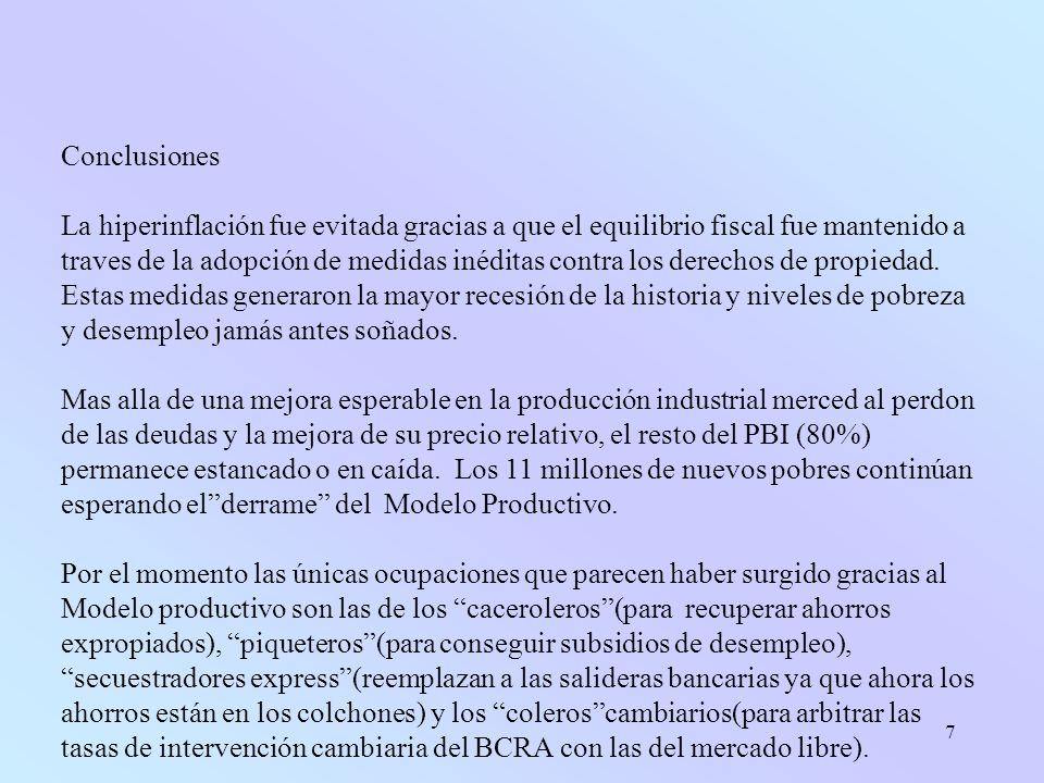 7 Conclusiones La hiperinflación fue evitada gracias a que el equilibrio fiscal fue mantenido a traves de la adopción de medidas inéditas contra los derechos de propiedad.
