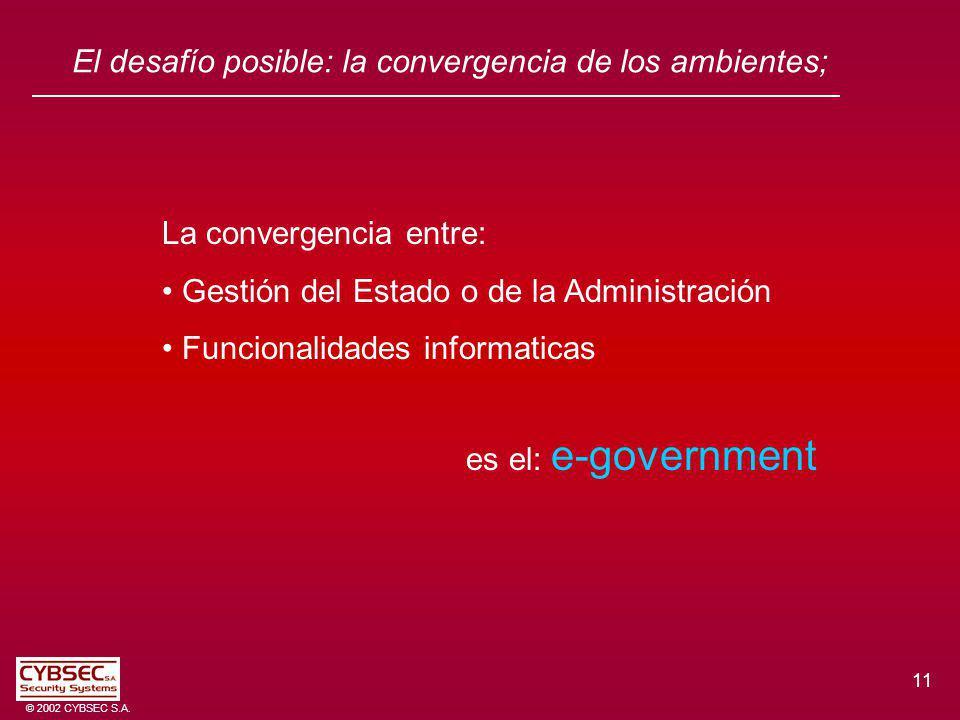 11 © 2002 CYBSEC S.A. El desafío posible: la convergencia de los ambientes; La convergencia entre: Gestión del Estado o de la Administración Funcional