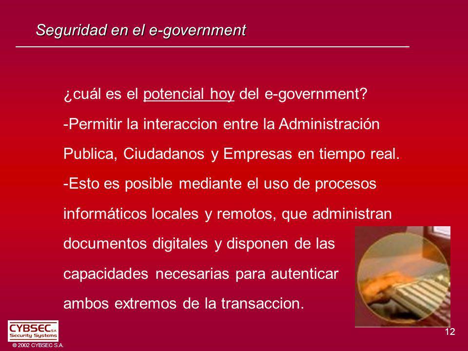 12 © 2002 CYBSEC S.A. Seguridad en el e-government ¿cuál es el potencial hoy del e-government? -Permitir la interaccion entre la Administración Public