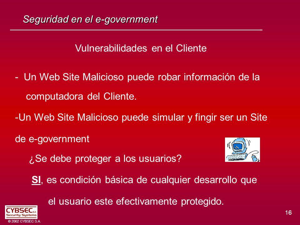 16 © 2002 CYBSEC S.A. Seguridad en el e-government Vulnerabilidades en el Cliente - Un Web Site Malicioso puede robar información de la computadora de
